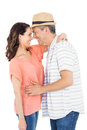 Couple looking at each other on white background Stock Photos