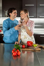 Couple looking making a toast Royalty Free Stock Photo