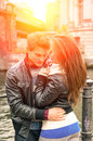 Couple in love beginning of a love story at the Royalty Free Stock Photo