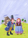 Couple in love on a countryside acrylic illustration of Royalty Free Stock Image