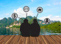 Couple love dream about future on landsce backgrouapnd thailand Royalty Free Stock Photos