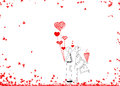 Couple in love hand drawn design idea of couple in love male an and girl for valentine s day on white background Stock Photos