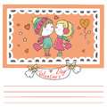 Couple in love with hearts, Valentine card Royalty Free Stock Photo