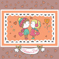 Couple in love with hearts, Valentine card. Royalty Free Stock Photo