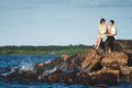 Couple in love on the lake Royalty Free Stock Photo