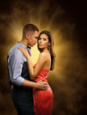 Couple in Love, Lovers Passionate Embrace, Man Embracing Woman Royalty Free Stock Photo