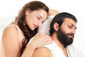 Couple love moment lying on bed Royalty Free Stock Photography