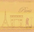 Couple in love in paris vintage card Royalty Free Stock Photography