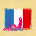 Couple in love in paris vintage card flag the background Royalty Free Stock Photos