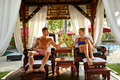 Couple In Love On Romantic Vacation With Cocktails At Spa Royalty Free Stock Photo