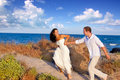 Couple in love running at the beach Royalty Free Stock Photo