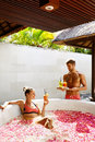Couple In Love At Spa. Man, Woman On Romantic Vacation Royalty Free Stock Photo
