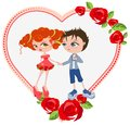 Couple in love template valentines card illustration vector format Stock Photography