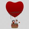 Couple  in love traveling  in Aerostatic Balloon Heart Love. Saint Valentine. Royalty Free Stock Photo