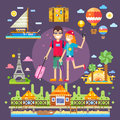 Couple in love travels the world pleasant romantic trip to best attractions memories of youth vector flat illustration Royalty Free Stock Photo