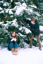 Couple in love in winter Royalty Free Stock Photo