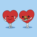 Couple lover hearts dating vector hand drawn illustration