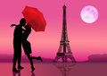 Couple of lovers in Paris at night, Moon on background. Vector illustration Royalty Free Stock Photo