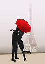 Couple of lovers in Paris, vector Royalty Free Stock Photo