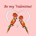 A couple of macaw parrots with a heart and words be my valentine valentines day postcard vector art illustration Stock Photo