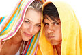 Couple making a funny face with a towel Royalty Free Stock Image