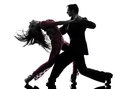 Couple man woman ballroom dancers tangoing  silhouette Royalty Free Stock Photo