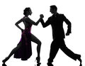 Couple man woman ballroom dancers tangoing silhouette one caucasian men women in studio isolated on white background Stock Photography