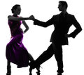 Couple man woman ballroom dancers tangoing silhouette one caucasian men women in studio isolated on white background Stock Image