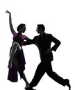Couple man woman ballroom dancers tangoing silhouette one caucasian men women in studio isolated on white background Royalty Free Stock Photography