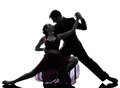 Couple man woman ballroom dancers tangoing silhouette one caucasian men women in studio on white background Royalty Free Stock Photo