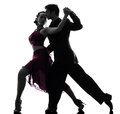 Couple man woman ballroom dancers tangoing silhouette one men women in studio isolated on white background Royalty Free Stock Photo