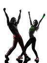 Couple man and woman exercising fitness zumba dancing silhouette men women in on white background Stock Photo