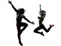 Couple man and woman exercising fitness zumba dancing silhouette men women in on white background Stock Image