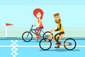 Couple Man Woman Ride Bicycle Race Road Royalty Free Stock Photo