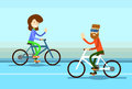 Couple Man Woman Ride Towards Bicycle Wave Hand Greeting Royalty Free Stock Photo