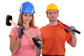 A couple of manual worker ready to get started Royalty Free Stock Photography