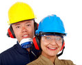 Couple of manual workers Royalty Free Stock Image