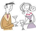 Couple meet on a date hand drawn drinking refreshments illustration of valentine card Stock Images