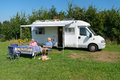 Couple with mobil home Royalty Free Stock Photo