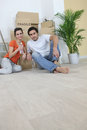 Couple on moving day Stock Image
