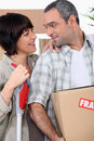 Couple moving into new home their Royalty Free Stock Photos