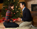 Couple Opening Presents In Front Of Christmas Tree Stock Photos