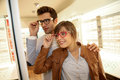 Couple at the optical store