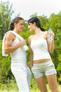 Couple at outdoors workout Stock Photos