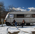 Couple Outside Motorhome Stock Images