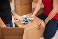 Couple packing some boxes Royalty Free Stock Photo