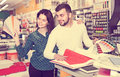 Couple in paint supplies store Royalty Free Stock Photo