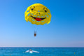 Couple parasailing in nice france Royalty Free Stock Photos
