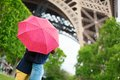 Couple in paris kissing under rain the Stock Image