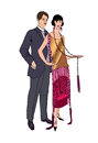 Couple on party. Man and woman in vintage style 1920's. Portrait Royalty Free Stock Photo